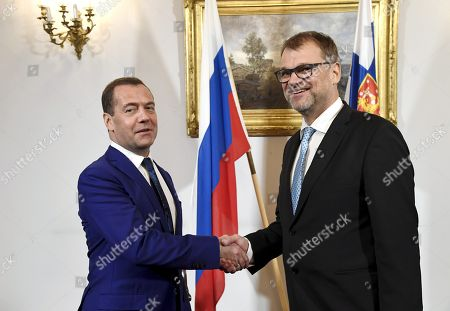 Prime Minister Juha Sipila of Finland welcomed Russian Prime Minister Dmitry Medvedev for his visit
