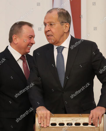 Russian Foreign Minister Sergei Lavrov (R) and Belarussian Foreign Minister Vladimir Makei (L) arrive prior to the start of a joint session of the Belarusssian and Russian Ministries of Foreign Affairs in Minsk, Belarus, 21 November 2018. Sergei Lavrov is on a two-day working visit to Belarus.