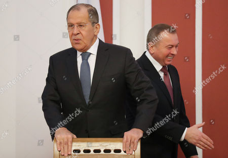 Russian Foreign Minister Sergei Lavrov (L) and Belarussian Foreign Minister Vladimir Makei (R) arrive prior to the start of a joint session of the Belarusssian and Russian Ministries of Foreign Affairs in Minsk, Belarus, 21 November 2018. Sergei Lavrov is on a two-day working visit to Belarus.