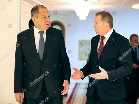 Russian Foreign Minister Sergei Lavrov (L) speaks with Belarussian Foreign Minister Vladimir Makei (R) prior to the start of a joint session of the Belarusssian and Russian Ministries of Foreign Affairs in Minsk, Belarus, 21 November 2018. Sergei Lavrov is on a two-day working visit to Belarus.