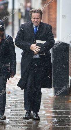 Stock Image of Marcus Fysh MP arrives for an ERG press conference near Parliament
