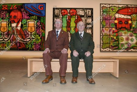 "British artist duo Gilbert & George (Gilbert Prousch (R) and George Passmore) at the opening of their exhibition ""The Major Exhibition"" at Helsinki Art Museum"