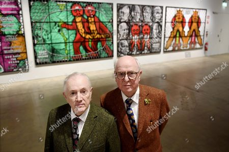 "British artist duo Gilbert & George (Gilbert Prousch (L) and George Passmore) at the opening of their exhibition ""The Major Exhibition"" at Helsinki Art Museum"