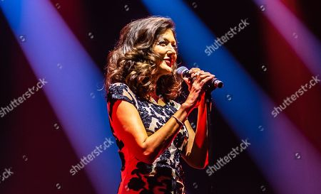 Stock Photo of Countess Alexandra of Frederiksborg on stage performing 'Wash me away' for the first time, Malmö Arena 10 year anniversary