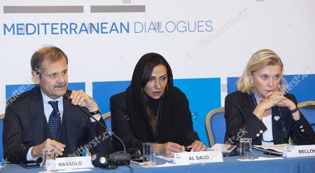 Stock Image of (L-R) Ambassador Giampiero Massolo, Princess of Saudi Arabia, Lamia Bint Majed Al Saud and Italy's Secretary General of Ministry for Foreign Affairs, Elisabetta Belloni during the event prior to the Rome 2018 MED Mediterranean Dialogues conference in Rome, Italy, 21 November 2018. The conference of Mediterranean countries runs from 22 to 24 November 2018.