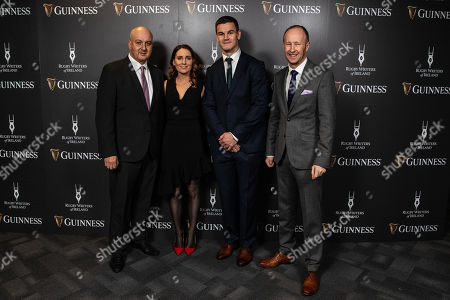 Simon Lewis, Chairman of the Rugby Writers of Ireland, Jennifer Gleeson, Johnny Sexton Rory Sheridan, Head of Partnerships, Diageo