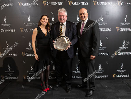 Jennifer Gleeson of Diageo, Tom Rooney Award winners Lansdowne RFC represented by Michael Cassidy and Simon Lewis, Chairman of the Rugby Writers of Ireland