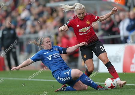 Alex Greenwood of Manchester United Women and Sarah Wilson of Durham