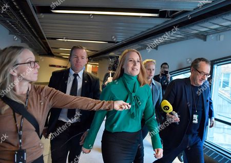 Swedish Centre Party leader Annie Loof  (C)  on her way to meet with the Speaker of Parliament  Andreas Norlen at the Parliament Riksdagen in Stockholm, Sweden, 22 November 2018. Loof got last week the mission from the Speaker to check the possibilities for forming a Swedish government, and is due today to report the results to the Speaker.