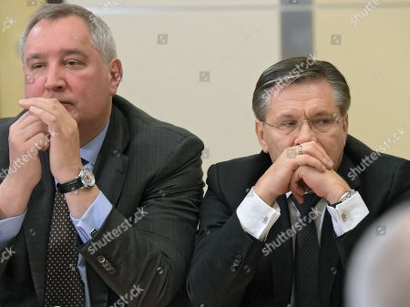 "A meeting with the leadership of the Russian Ministry of Defense, Members of Parliament and military-industrial complex representatives in the ""Bocharov Ruchei"" residence. General Director of the State Atomic Energy Corporation Rosatom Alexey Likhachev (right) and General Director of the State Corporation for Space Activity Roscosmos Dmitry Rogozin (left) during the meeting."