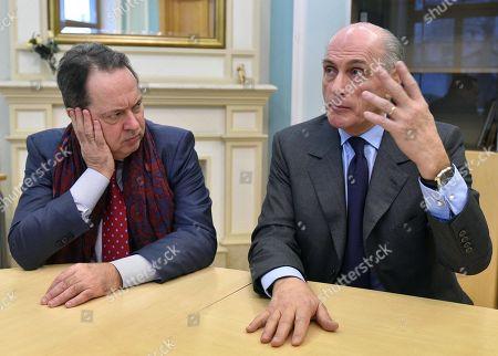 Bernard Ruiz-Picasso (right), grand-son of Pablo Ruiz Picasso; and Joachim Pissarro(left), art historian and art critic, during an interview.