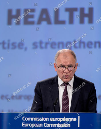 European Union Commissioner for Health and Food Safety Vytenis Andriukaitis speaks during a media conference at EU headquarters in Brussels