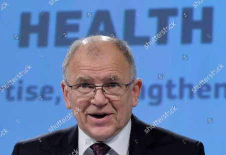 EU Commissioner for Health and Food safety Vytenis Andriukaitis gives a news conference on the Health report in Brussels, Belgium, 22 November 2018. The report of the European Commission and the Organisation for Economic Cooperation and Development (OECD) shows that the steady increase of life expectancy has slowed down and that large gaps across and within countries persist, notably leaving people with a low level of education by the wayside.