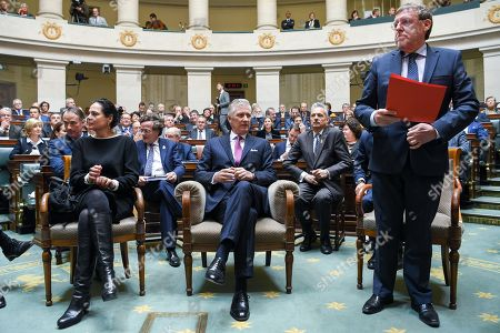Christine Defraigne, King Philippe and Siegfried Bracke during a visit of the Belgian king to the federal parliament to commemorate the 100th anniversary of the speech of King Albert I