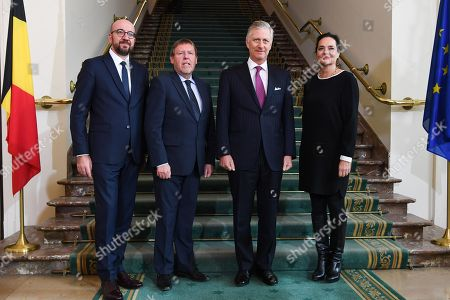 Charles Michel, Siegfried Bracke, King Philippe and Christine Defraigne during a visit of the Belgian king to the federal parliament to commemorate the 100th anniversary of the speech of King Albert I