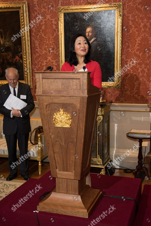 Stock Picture of Dr Linda Yueh makes a speech during a reception for winners of The Queen's Commonwealth Essay Competition