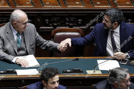 Italian Minister for European Affairs, Paolo Savona (L) and Italian Minister for Relations with Parliament, Riccardo Fraccaro (R), during the vote on the government's anti-corruption bill, in Rome, Italy, 22 November 2018. The Lower House on Thursday approved the government's anti-corruption bill with 288 ayes and 143 nays. The measures moves to the Senate. The measure, which had been held up by a No vote to an amendment on embezzlement which was later reversed, contains a crackdown on graft.