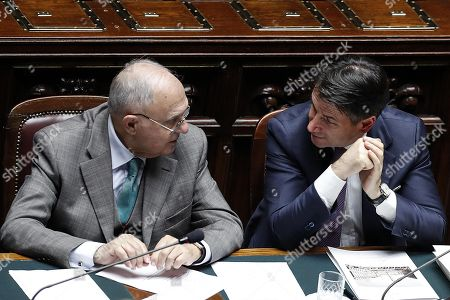 Italian Prime Minister Giuseppe Conte (R) and Minister for European Affairs Paolo Savona (L) during a session on Italian budget at the Chamber of Deputies in Rome, Italy, 22 November 2018. European Commission had rejected on 21 November Italy's proposed 2019 budget over excessive spendings.