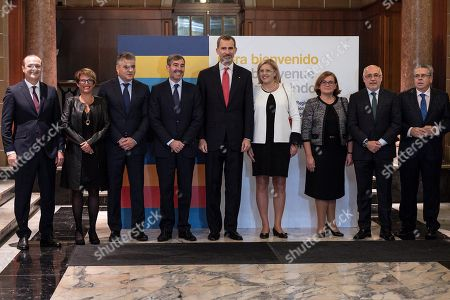 Spain's King Felipe VI (5-R) poses with EU Commissioner for Regional Policy Corina Cretu (4-R) pose for the photographers during the official dinner of the 23rd Conference of Presidents of Ultra-peripheral regions of the European Union in Las Palmas de Gran Canaria, Canary Islands, Spain, 22 November 2018.