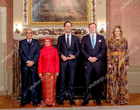 King Willem-Alexander, Queen Maxima, Mark Rutte with President Halimah Yacob of the Republic of Singapore and her husband Mohamed Abdullah Alhabshee