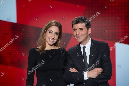 French journalists Lea Salame (L) and Thomas Sotto