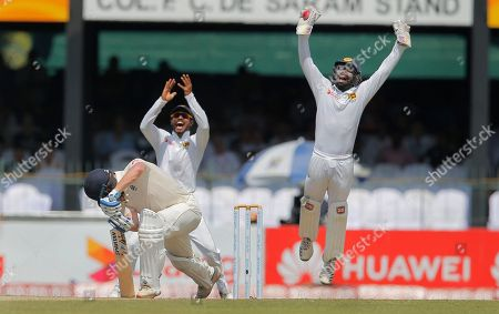 Stock Photo of England's Jonathan Bairstow, left, services an unsuccessful appeal from Sri Lanka's Niroshan Dickwella, right, and Dhananjaya de Silvaduring the first day of the third test cricket match between Sri Lanka and England in Colombo, Sri Lanka
