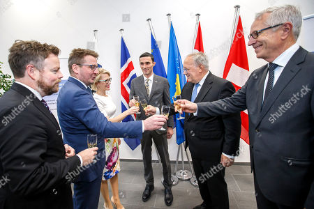 (L-R) Norway's Minister of Trade and Industry Torbjorn Roe Isaksen, Iceland's Minister for Foreign Affairs Gulaugur Thor Thordarson, Liechtenstein's Minister of Foreign Affairs Aurelia Frick, Kosovo's Minister of Trade and Industry Endrit Shala, Swiss Minister of Economic Johann Schneider-Ammann, and Secretary-General of the European Free Trade Association (EFTA) Swiss Henri Getaz, cheers with sparkling wine after signing a political declaration between the EFTA and Kosovo, during an EFTA Ministerial meeting at the headquarters of the European Free Trade Association, in Geneva, Switzerland, 23 November 2018.