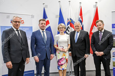 (L-R) Secretary-General of the European Free Trade Association (EFTA) Henri Getaz, Iceland's Minister for Foreign Affairs Gulaugur Thor Thordarson, Liechtenstein's Minister of Foreign Affairs Aurelia Frick, Swiss Minister of Economic Johann Schneider-Ammann, Norway's Minister of Trade and Industry Torbjorn Roe Isaksen, pose for an official photo during an EFTA Ministerial meeting at the headquarters of the European Free Trade Association, in Geneva, Switzerland, 23 November 2018.