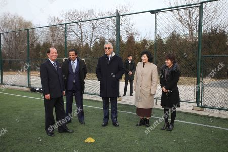 Asia Football Confederation President Salman Bin Ibrahim Al-Khalifa, center back, visits the Football Association of North Korea at Pyongyang International football school in Pyongyang