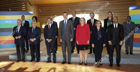King Felipe VI of Spain (4L), European Commissioner for Regional Policy, Corina Cretu (4R), Canarias regional President, Fernando Clavijo (3L), and presidents of EU outermost regions pose for a group photo at the Alfredo Kraus Auditorium in Las Palmas, Canary Islands, Spain, 23 November 2018, during the 23rd Conference of the Outermost Regions of the EU.