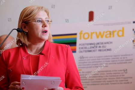 European Commissioner for Regional Policy, Corina Cretu, delivers a speech during the signing of the 'forward project' on the sidelines of the 23rd Conference of the Outermost Regions of the EU' at the Alfredo Kraus Auditorium in Las Palmas, Canary Islands, Spain, 23 November 2018.
