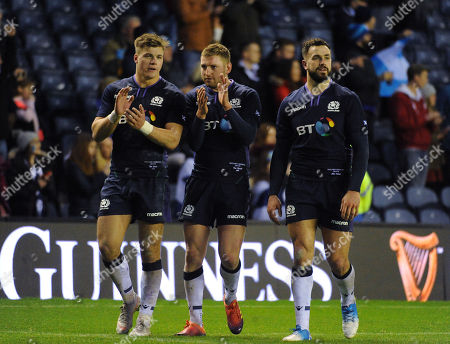 (L to R) Huw Jones, Finn Russell and Alex Dunbar - Scotland players leave the field at the end of the match. Scotland v Argentina, Murrayfield Stadium, Edinburgh, Scotland, Saturday 24th November 2018.