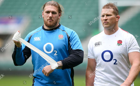 Harry Williams (L)  with Dylan Hartley of England