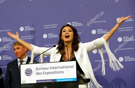 Russian singer Aida Garifullina delivers a speech at the 164th General Assembly of the Bureau International des Expositions (BIE) in Paris, . Cities in Russia, Japan and Azerbaijan are about to find out whether they can host the 2025 World Expo, an event expected to draw millions of visitors and showcase the local economy and culture. The 170 member states of the Paris-based Bureau International des Expositions are voting Friday on whether to hand the expo to Yekaterinburg, Osaka or Baku