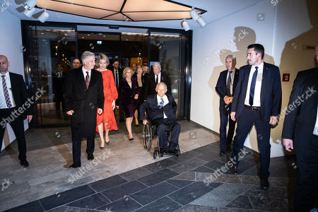 (C group R-L) Former German President Joachim Gauck with his partner Daniela Schadt, President of the German Parliament Wolfgang Schaeuble, his wife Ingeborg Schaeuble, Queen Mathilde and King Philippe of Belgium, arrive at the Berlin Philharmonic for Beethoven's 'Missa solemnis' in Berlin, Germany 23 November 2018. The royal Belgian couple visit the German capital in order to commemorate the 100th anniversary of the end of the First World War.