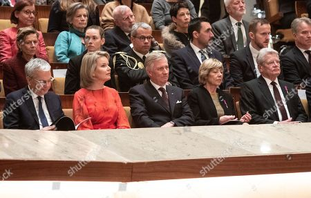 (Front row R-L) Former German President Joachim Gauck with his partner Daniela Schadt, King Philippe and Queen Mathilde of Belgium, Minister of Foreign Affairs of Belgium  Didier Reynders  prior to Beethoven's 'Missa solemnis' at the Berlin Philharmonic in Berlin, Germany 23 November 2018. The royal Belgian couple visit the German capital in order to commemorate the 100th anniversary of the end of the First World War.