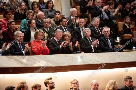(Front row 2R-L) Former German President Joachim Gauck with his partner Daniela Schadt, King Philippe and Queen Mathilde of Belgium, Minister of Foreign Affairs of Belgium  Didier Reynders  prior to Beethoven's 'Missa solemnis' at the Berlin Philharmonic in Berlin, Germany 23 November 2018. The royal Belgian couple visit the German capital in order to commemorate the 100th anniversary of the end of the First World War.
