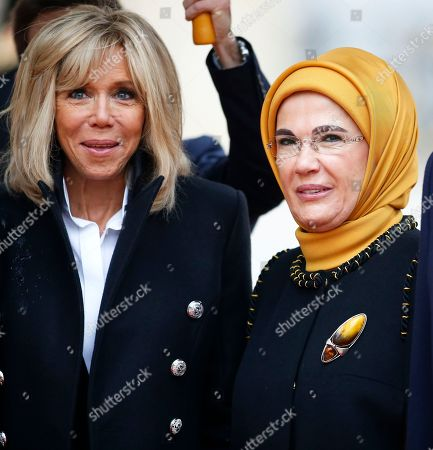 Turkish President Recep Tayyip Erdogan's wife Emine Gulbaran and Brigitte Trogneux at the Elysee palace for the official lunch after the international ceremony for the Centenary of the WWI Armistice of 11 November 1918