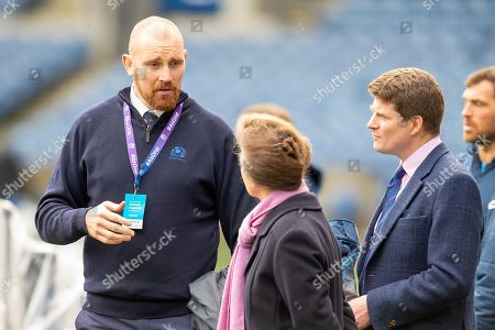 Alastair Kellock, SRU Ambassador (left) chats with HRH The Princess Royal and Dominic McKay, Chief Operating Officer of Scottish Rugby (right) during the team run, training session  for Scotland at BT Murrayfield, Edinburgh