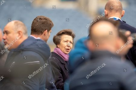 HRH The Princess Royal, chats with Alastair Kellock, Scottish Rugby Ambassador and Dominic McKay, Chief Operating Officer of Scottish Rugby during the team run, training session for Scotland at BT Murrayfield, Edinburgh