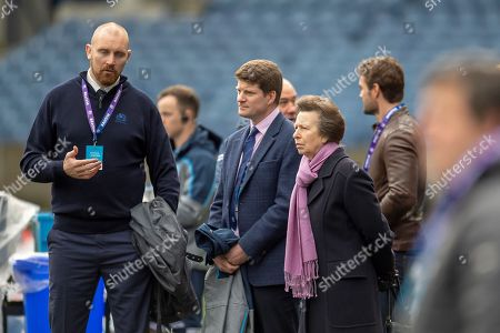 Stock Picture of Alastair Kellock, Scottish Rugby Ambassador (left) and Dominic McKay, Chief Operating Officer for Scottish Rugby, with HRH The Princess Royal during the team run, training session for Scotland at BT Murrayfield, Edinburgh