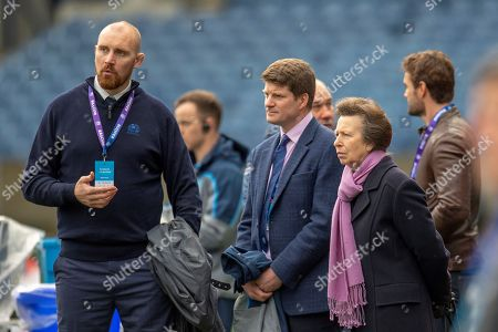 Stock Image of Alastair Kellock, Scottish Rugby Ambassador (left), Dominic McKay, Chief Operating Officer of Scottish Rugby (centre) and HRH The Princess Royal watch the team run and training session for Scotland at BT Murrayfield, Edinburgh