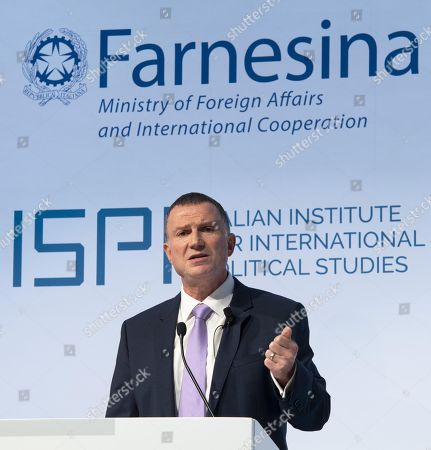 Stock Photo of Speaker of the Israeli parliament, the Knesset, Yuli-Yoel Edelstein delivers a speech  during the event MED Mediterranean Dialogues in Rome, Italy, 23 November 2018. The organizers say the event 'aims at drafting a 'positive agenda' for the Mediterranean by stimulating debate and promoting new ideas, rethinking traditional approaches and addressing shared challenges at both the regional and the international level.'