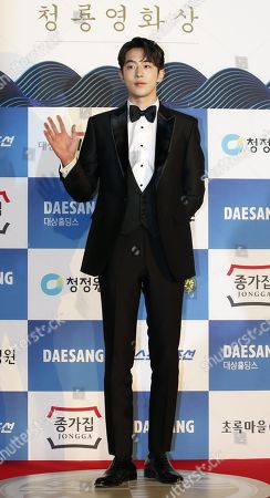 Stock Picture of Nam Joo-hyuk arrives for the 39th Blue Dragon Film Awards at the Kyunghee University in Seoul, South Korea, 23 November 2018. The Blue Dragon (Cheongryong) Awards are one of the country's two major film awards.
