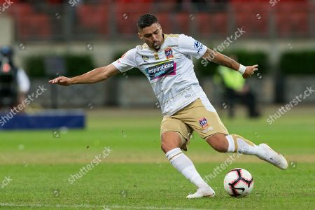 Newcastle Jets forward Dimitri Petratos (7) shoots at goal at the Hyundai A-League Round 5 soccer match between Western Sydney Wanderers FC and Newcastle Jets at Spotless Stadium in NSW