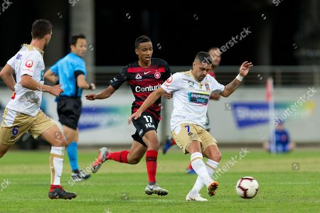 Newcastle Jets forward Dimitri Petratos (7) passes the ball at the Hyundai A-League Round 5 soccer match between Western Sydney Wanderers FC and Newcastle Jets at Spotless Stadium in NSW