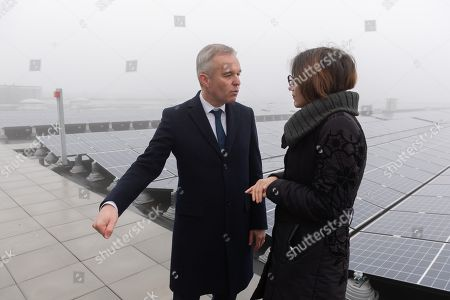 Francois de Rugy and Celia Blauel on the photovoltaic roof