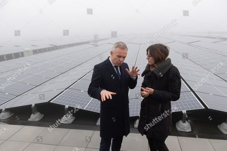 Stock Image of Francois de Rugy and Celia Blauel on the photovoltaic roof
