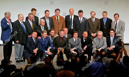 Stock Image of All living winners of Tour de France (except Pingeon) at Tour de France 100th anniversary Presentation Tour de France 2003. Paris (Oct 2002). L to R Top; Ferdi Kubler (Sui) 1950. Charly Gaul (Lux) 1958. Frederico Bahamontes (Esp) 1959. Jan Ullrich (D) 1997, Roger Walkowiak (Fra) 1956, Lance Armstrong (USA) 1999, 2000, 2001, 2002, 2003, 2004 and 2005 (DQ). Eddy Merckx (Bel) 1969, 1970, 1971, 1972 and 1974. Bjarne Riis (Dk) 1996 (DQ). Bernard Thevenet (Fra) 1975 and 1977. Laurent Fignon (Fra) 1983 and 1984. Greg Lemond (USA) 1986, 1989 and 1990. Bernard Hinault (Fra) 1978, 1979, 1981, 1982 and 1985.  2nd Row L to R;  Lucien Aimar (Fra) 1966. Felice Gimondi (Ita) 1965. Lucien Van Impe (Bel) 1976. Stephen Roche (Ire) 1987. Joop Zoetemelk (Ned) 1980. Pedro Delgado (Esp) 1988. Marco Pantani (Ita) 1998. Jan Janssen (Ned) 1968. Miguel Induran (Esp) 1991, 1992, 1993, 1995 and 1995 with race director Jean Marie Leblanc also a former racer. Nottament The only other living rider who won the TdF was Roger Pingeon (Fra) 1967 who was absent due to illness.  Raymond Poulidor 3 times second and 5 times third was also there but not in the winners line up. Since photo was taken Kubler, Gaul in beard glasses, Walkowaik, Fignon in beard and glasses plus Pantani with bald head beard have passed away.