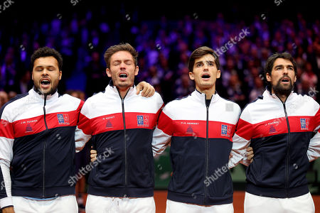Stock Picture of Jo Wilfried Tsonga, Nicolas Mahut, Pierre Hugues Herbert and Jeremy Chardy sing the French National Anthem